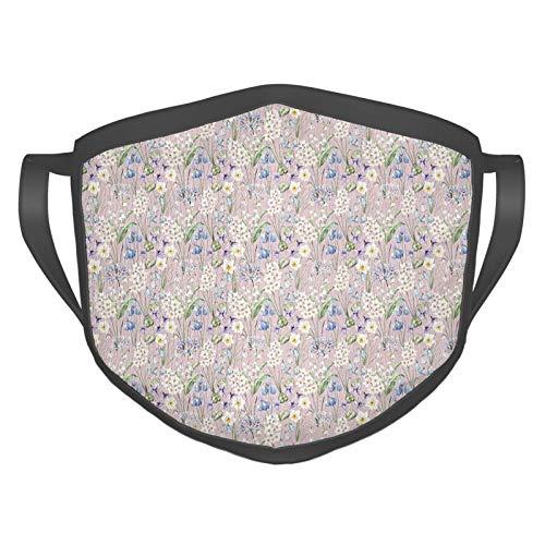 Cómoda máscara resistente al viento, flores de campo, flores de granja de verano, margaritas, hojas, tulipanes de color lila, decoración facial impresa para adultos