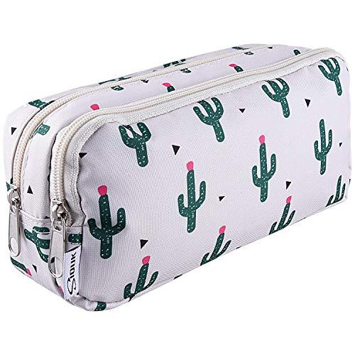 Estuche para bolígrafos de doble capacidad, estuche para cremalleras, cactus, bolso, lápiz, bolígrafos, cartón, para oficina, funda para cosméticos con compartimentos para Gilrs niñas y adultos