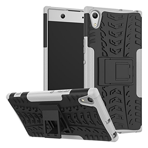 Sony Xperia XA1 Ultra Hülle Hülle, Heavy Duty Dual Layer Euti Holster Armor Tasche Defender Schutzhülle mit Ständer Hülle Fall für Sony Xperia XA1 Ultra (Weiß)