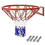 COSTWAY Aro de Baloncesto y Red, aro de Baloncesto Montado a la Pared, Canasta de Baloncesto, Canasta de Baloncesto con Red, Aro de Baloncesto con Red Resistente a la Intemperie