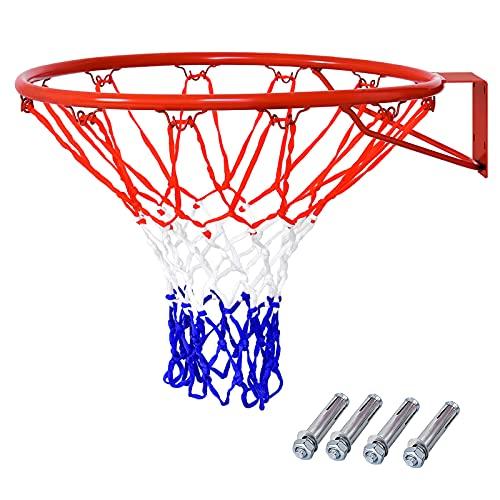 COSTWAY Ø 45 cm Basketballring mit Netz, Basketball Korb aus Stahlrahmen und wetterfestes Nylonnetz, Basketballkorb für In- und Outdoor