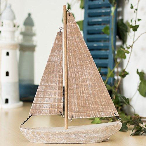 Antikas - Dekorativer Einmaster, Segelschiff zur maritimen Gestaltung, Yolle aus MDF