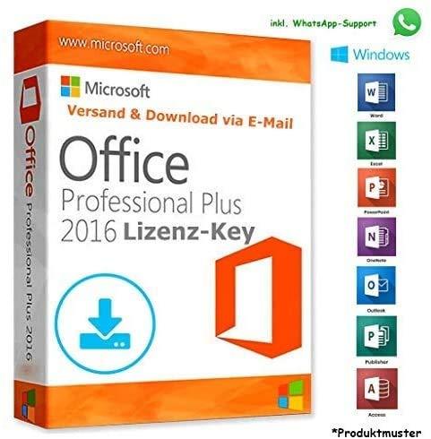 MS Office 2016 Professional Plus LIZENZ KEY - POSTBRIEF-VERSAND - 32 / 64 Bit - 1 Aktivierung / 1 PC + Anleitung von U-S-B DAKUL.A