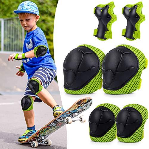 BDPP Set di Ginocchiere per Bambini,Protezioni Set di 2X gomitiere, 2X polsiere e 2X Ginocchiere protettive per Bambini per Pattini,Hoverboard, Scooter Linea Bicicletta Protezione Bambina(Verde)