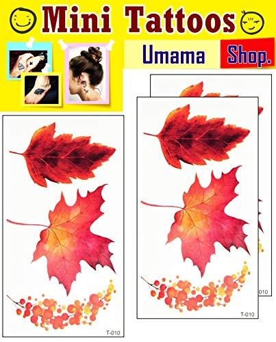 Umama Lot of 3 Mini Tattoos Maple Tree Leaf Cartoon Tattoos Sticker Temporary Leaves Tattoo for Men Women Body Art Makeup Fake Tattoo Waterproof Removable