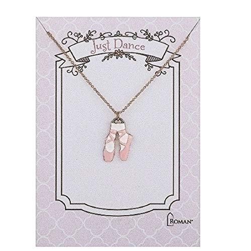 Roman 13672 - Collar de zapatos de ballet rosa, 38 cm de longitud, color dorado