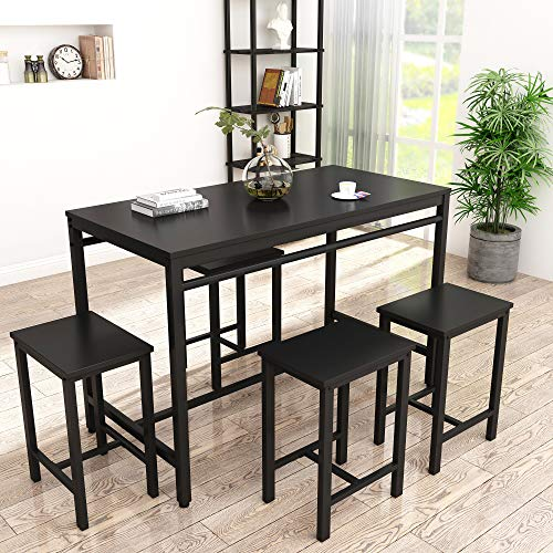 HCWORLD Chairs, 5 Pieces Dining Table Set for 4 Modern Counter Height Pub Perfect for The Bar, and Kitchen Furniture (Black)