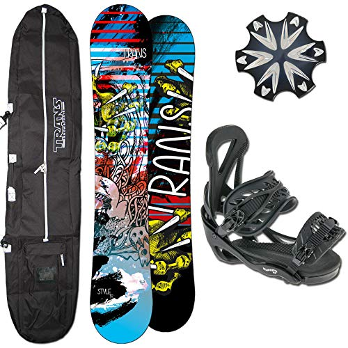 Trans Herren Snowboard Style Camber 155 cm Wide + ELFGEN BINDUNG GR L + PAD