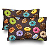InterestPrint Home Decor Bedding Pillow Set of 2, Glaze and Sprinkles Donuts and Chocolate Donut...