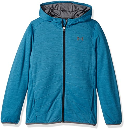 Under Armour Boys' ColdGear Reactor Hybrid Jacket, Bayou Blue (953)/Rhino Gray, Youth Small