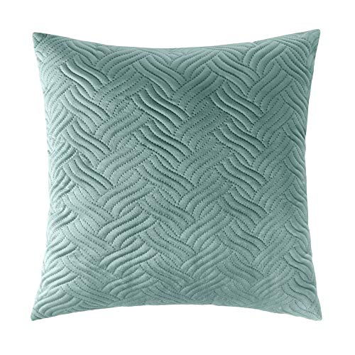 Artcest Cozy Solid Quilted Velvet Throw Pillow Case Decorative Couch Cushion Cover Soft Sofa Euro Sham with Zipper Hidden, 20' x 20' (Seafoam)