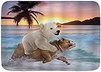 マイクロファイバーバスマットラグおかしい動物のパグ犬かわいいクマの子犬パームトロピカルオーシャンキッズバスルームぬいぐるみマットフロア滑り止めラグ50 * 80cm-Style01-50 * 80cm
