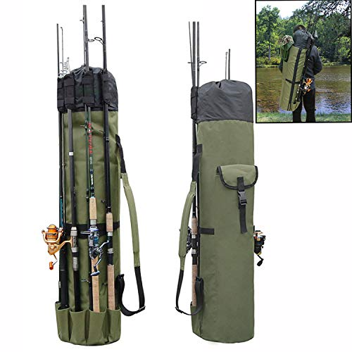 AGOOL Fishing Rod Bag Holder Fishing Rod Carrier Fishing Pole Travel Case Tackle Box Storage Multifunctional Stand Bags Large Capacity Lightweight Waterproof Fishing Gear Organizer
