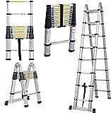 Mehrzweckleiter Teleskopleiter Klappleiter 3,8 m / 5 m / 1,9m+1,9m / 2,5m+2,5m AluLeiter Ausziehbar Verlängerungsleiter A-Rahmen/gerade Leiter, EN131 (A-Rahmen, 1,9m+1,9m)