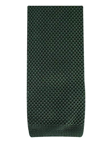 David Van Hagen Olive plaine cravate en tricot de