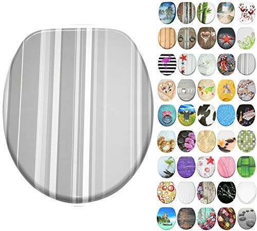 Sanilo toiletbril met soft closing-mechanisme I Hoogwaardige houten toiletzitting I Toiletdeksel in verschillende motieven (Grijze Strepen)