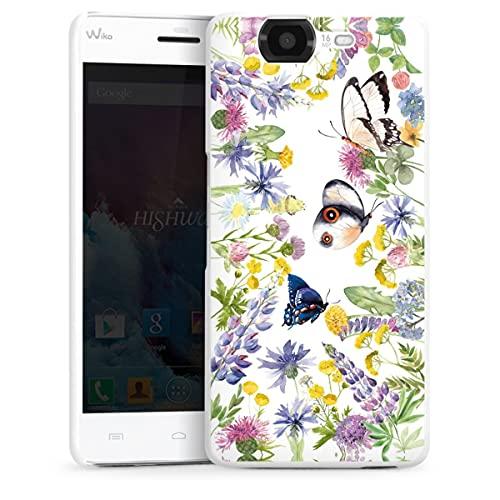 DeinDesign Hard Hülle kompatibel mit Wiko Highway Schutzhülle weiß Smartphone Backcover Blumen Muster Schmetterling