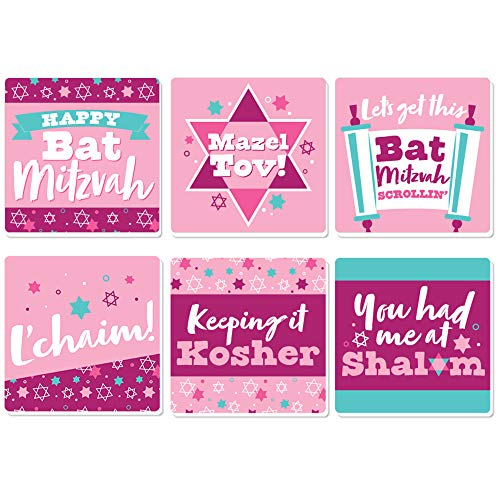 Big Dot of Happiness Pink Bat Mitzvah - Funny Girl Party Decorations - Drink Coasters - Set of 6