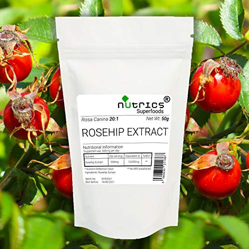 Nutrics® 100% Pure 20:1 Rozenbottel Extract Vegan Poeder 50g Gezamenlijke verzorging | Nutrics Superfoods