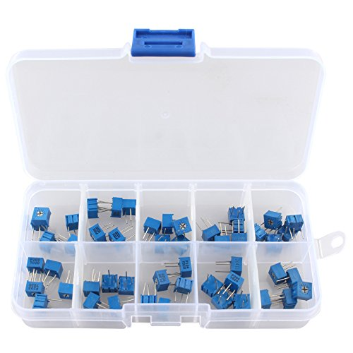 HALJIA 50PCS 10Value 100 ohm to 1M ohm 3362 Trimmer Potentiometer Assorted Kit Variable Resistor with Plastci Box