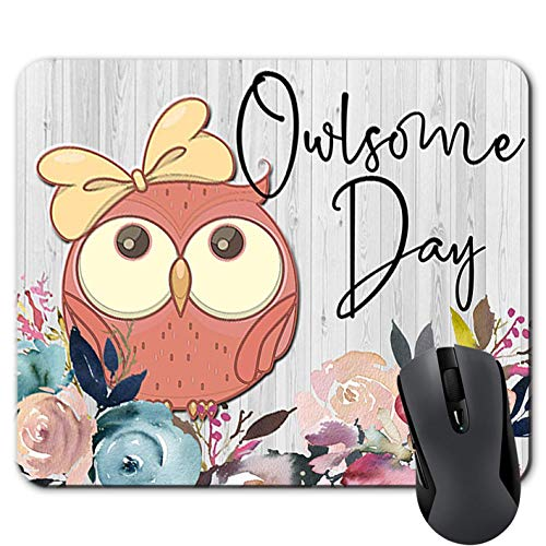 Funny Owl Mouse Pad with Quote Owlsome Day Pink Floral Rectangle Mousepad Desk Accessories for Women