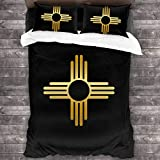 LZMM Hojas New Mexico Zia Sun Symbol 3 Pieces Bedding Set Duvet Cover for Full Twin Size Bed Ultra Soft Breathable for Bedroom 2 Piece Pillow Cover and Duvet Cover