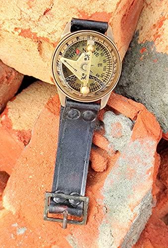 Reloj de brújula envejecida grabada envejecida, de piel rústica, para hombres, regalo...