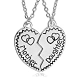 Gifts for Daughter Mom 2pcs Mother Daughter Split Broken Heart Pendant Necklace Set Family Mom Daughter Gifts from Mother Daughter Silver