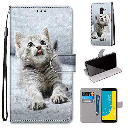 Miagon Flip PU Leder Schutzhülle für Samsung Galaxy J6 2018,Bunt Muster Hülle Brieftasche Case Cover Ständer mit Kartenfächer Trageschlaufe,Grau Katze