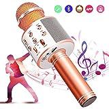 【5色】カラオケマイク bluetooth ワイヤレスマイク 音楽再生 録音可能 家庭カラオケ ポータブルスピーカー ノイズキャンセリング 1800mAh TFカード機能 Android/iPhoneに対応 XIANRUI (ゴールドローズ)