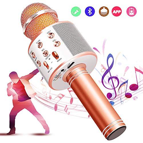 カラオケマイク bluetooth ワイヤレスマイク 音楽再生 録音可能 家庭カラオケ ポータブルスピーカー ノイズキャンセリング 1800mAh TFカード機能 Android/iPhoneに対応 XIANRUI (ゴールドローズ)