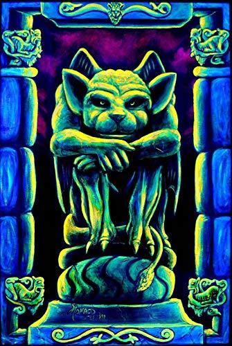 XURANFANG Blacklight Uv-Wasserspeier-Tapisserie Trippy Goth PSY Glow-Kunst Lrg-Wandbehang Cool!