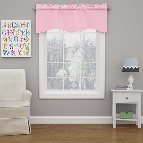 """ECLIPSE Kendall Solid Scalloped Window Valance Curtains, 42"""" x 18"""", Bouquet"""