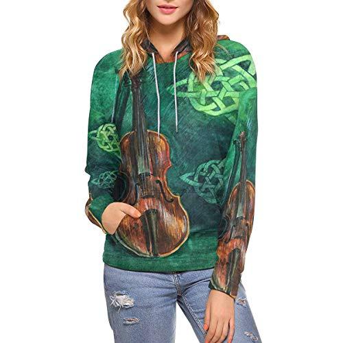 INTERESTPRINT Watercolor Violin Celtic Women's Hoodies Sweatshirt Pullover S
