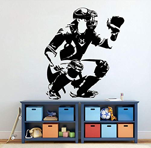 Wandaufkleber Wandtattoo Wandsticker Baseball Catcher Sportfan Teen Boys Zimmer Vinyl Art Home Decoration Wallpaper 42 × 48 cm