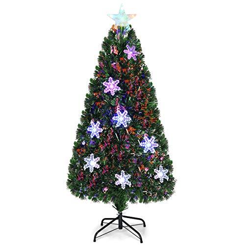 COSTWAY 90/120/150/180 LED Künstlicher Weihnachtsbaum mit Glasfaser-Farbwechsler und Sternspitze, Tannenbaum PVC Nadeln, Christbaum ideal für Zuhause, Büro, Geschäfte und Hotels, Grün (150cm)