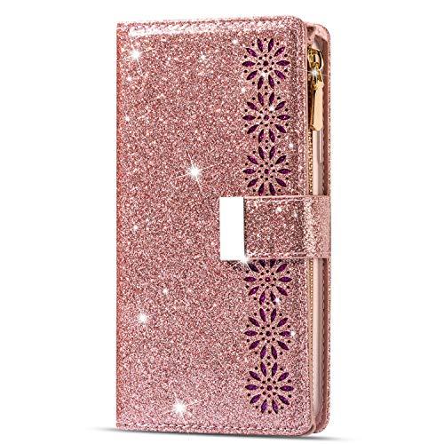 Seeya für Samsung Galaxy M31s Hülle, M31s Handyhülle mit Kartenfach Magnet PU Lederhülle Glitzer Schneeflocken Flip Schutzhülle Klapphülle Handy Tasche Geldbeutel Roségold von Galaxy M31s