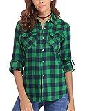 Aibrou Camisa Franela de Cuadros Mujer,Blusa Casual Camisas Clásica Manga Larga con Botones,Ropa de Trabajo de Equipo para Primavera Otoño Invierno (Verde, M)