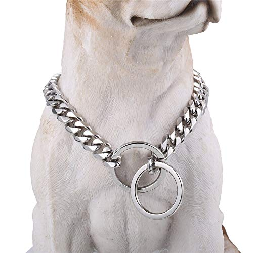 Loveshine Chain Dog Collar High Polished Silver Cuban Link Dog Chain Choke Collar Metal Stainless Steel Heavy Duty Slip Dog Collars for Medium Dogs(15MM, 24')