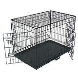 Cage Chien Pliable, Chenil pour Chien avec Cloison, bac en Plastique et 2 Portes, XL (93 x 58 x 64 cm), Cage de Transport Chien, Lapin, Chiot et Animaux Domestique, en Metal, Noir