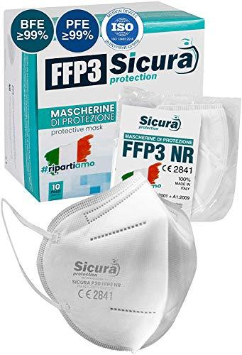 Mascarillas FFP3 Homologadas fabricadas en Italia. 10x Mascarilla ffp3 certificada CE Sanitizada. ISO dispositivo médico   BFE ≥99%   PFE ≥99%   Paquete de mascaras 10 unidades.