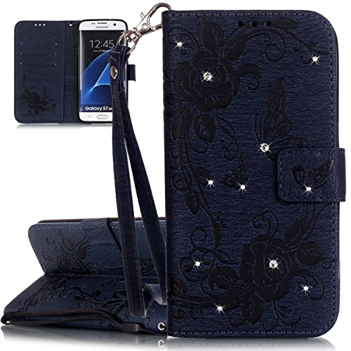 ISAKEN compatibile con Samsung Galaxy S7 Edge Cover - Libro Wallet Flip Case Glitter Diamante Cover Portafoglio Custodia in PU Pelle con Supporto di Stand/Carte Slot/Chiusura, Blu scuro