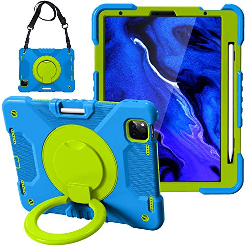 Tablet PC Bolsas Bandolera Caja de la tableta para iPad 2020 Air4 10.9 / Pro 11, cabina protectora a prueba de golpes duraderos para niños, con soporte de mango plegable, soporte giratorio, correa de