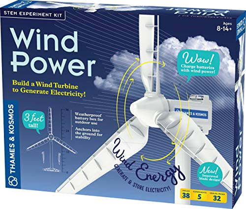 Thames & Kosmos Wind Power V4.0 STEM Experiment Kit | Build a 3ft Wind Turbine to Generate Electricity | Learn About Renewable Energy & Power a Small Model Car | Weatherproof for Outdoor Use