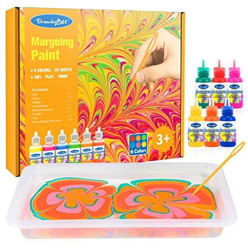 Hotifts Bastelset Kinderspielzeug ab 4 5 6 7 Jahre, Marmorierfarbe Acrylfarben Set Weihnachtsgeschenke Mädchen ab 4-12 Jahre Geschenke Kinder