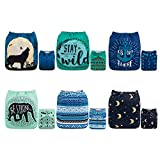 ALVABABY Color Snaps Baby Cloth Diapers/Adjustable Washable Reusable/6 Pack with 12 pcs 5-...