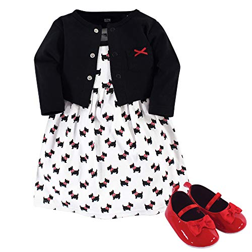 Hudson Baby Baby Girls Cotton Dress, Cardigan and Shoe Set, Scottie Dog, 9-12 Months