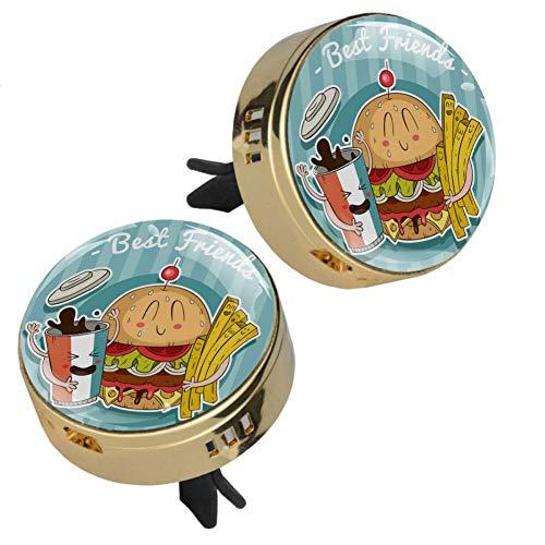 Z&Q Auto Diffuser Luftbefeuchter für Burger Fries Cartoon Auto Lufterfrischer zum Nachfüllen Kommt mit 4 PE zusätzlichen Pads öl Diffusor 33.8mmX46.4mm