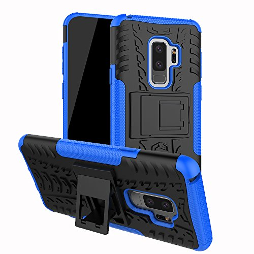 FOLICE Samsung Galaxy S9 Plus Case Tough Rugged Dual Layer Protective Case with Kickstand (Blue)