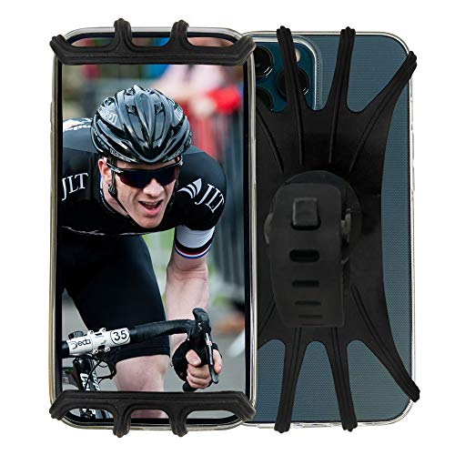 Bike Accessories, Phone Holder Secure Lock & Bicycle Cell Phone Case Mount for Mountain Bike Motorcycle Handlebar Universal Detachable 360° Rotation Silicone Compatible with iPhone & Android Phones